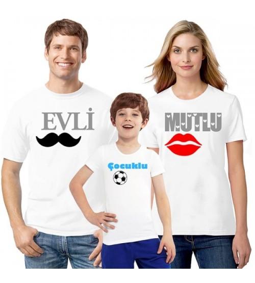 Evli Mutlu Çocuklu Aile Tişörtleri