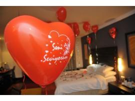 Seni Seviyorum Yazılı 10′lu Kalp Balon