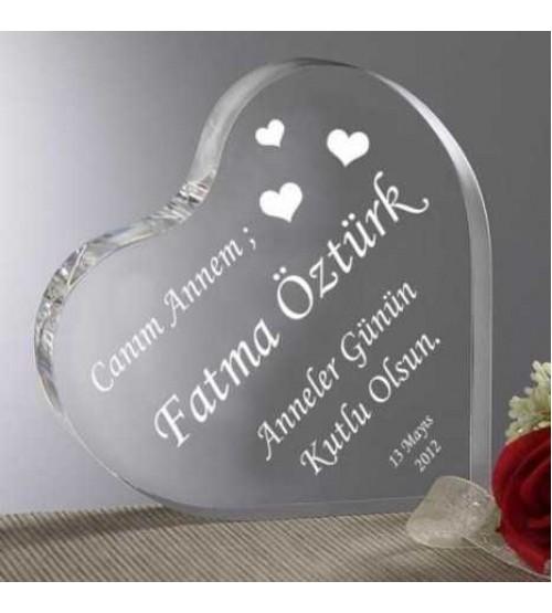 Canım Anneme Mesajlı Kalp Akrilik